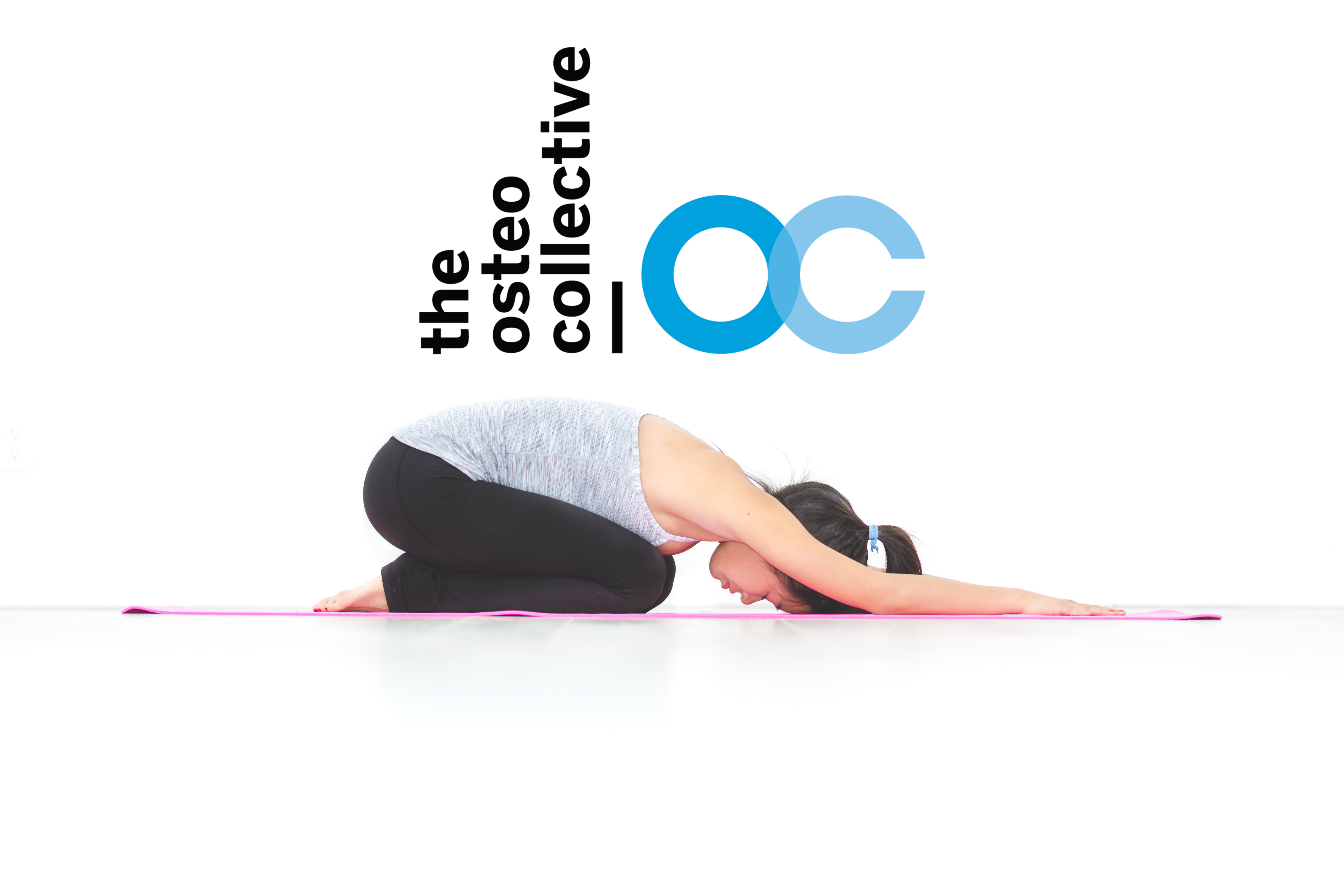 Picture of lady performing a childs pose on a pink yoga mat with the osteo collective logo placed above.
